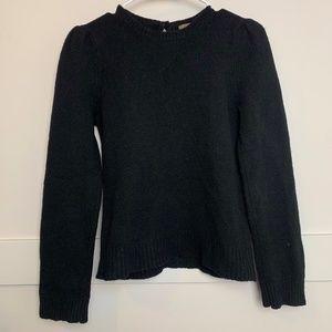 J. Crew Black Wool Sweater With Keyhole